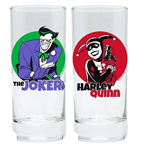 DC Comics - Batman - Trinkgläser 2er Set 300 ml - The Animated Series - Harley Quinn & Joker (Der Joker Womens Kostüm)