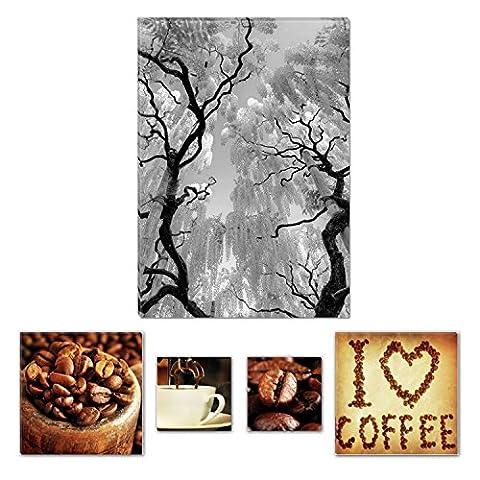 Eco Light Art Wand Leinwand Bundle schwarz und weiß abstrakt Baum und Blumen 60x 90cm für Home Décor und Kaffee Collage Set of 4gerahmt Kunstwerk für Home Decor und (Dark Pink Bereich Teppich)
