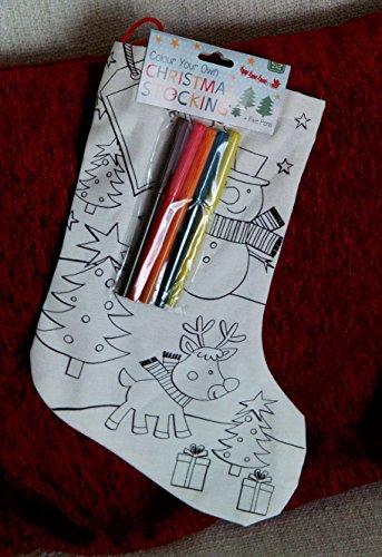 Chaussette chaussette de Noël pour enfants Couleur Craft votre propre avec stylos Santa/bonhomme de neige, Tissu, Snowman