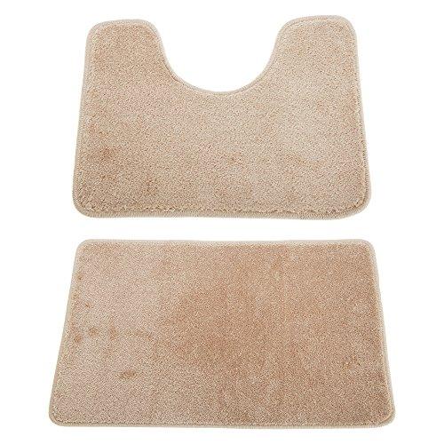 Universal Textiles Conjunto de Dos alfombras para baño (Talla Única) (Beige)
