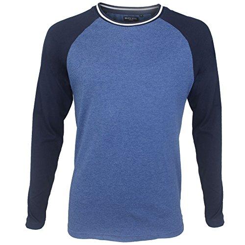 Brave Soul Herren Blusen Langarmshirt grau grau Small Vintage Blue Marl
