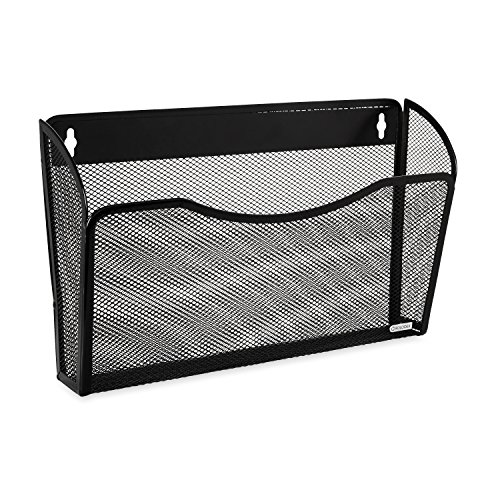 Single Pocket Wire Mesh Wall File, Letter, Black, Sold as 1 Each