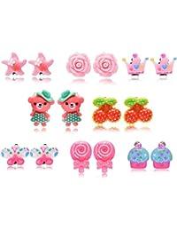 Fsmiling Set pendientes clip colores flor animales para niñas bebes 8 pares