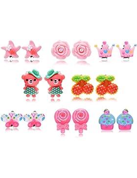 5 Paar Hypoallergen Princess Clip Ohrringe Set Stecker für Kinder kleine Mädchen