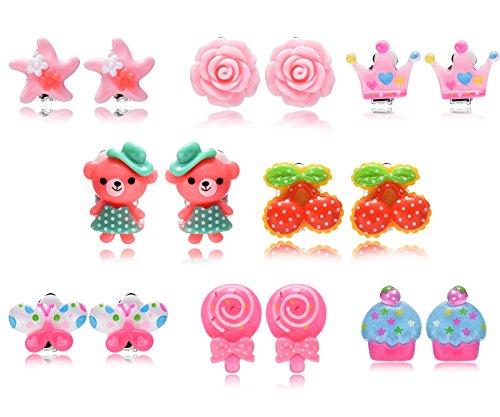Lot de 8 paires Fleur Animaux boucles d'oreilles clips pour enfants Fsmiling