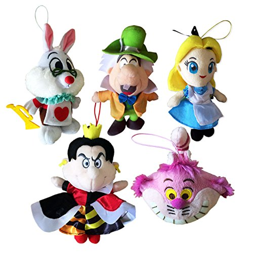 Set 5 Plush Alice im Wunderland 18cm Disney Hutmacher Cheshire Cat weiße Kaninchen Königin der Herzen