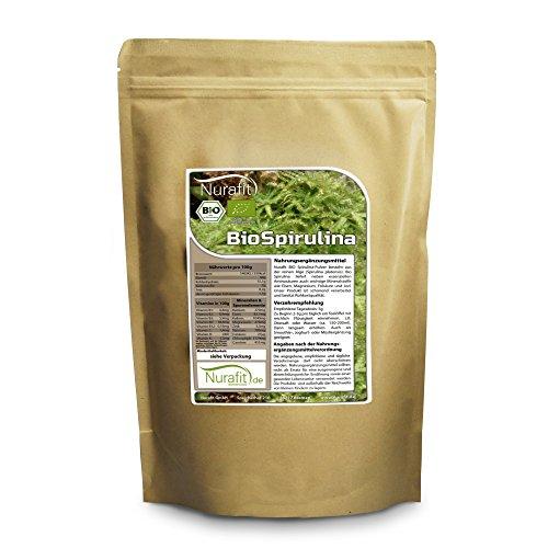 Nurafit BIO Spirulina Pulver | 500g / 0.5kg | aus kontrolliert biologischem Anbau | Green-Smoothie Pulver | Superfood Alge