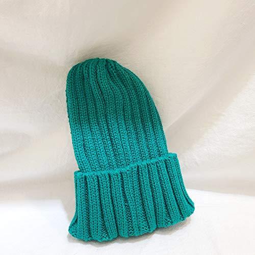 mlpnko Kinder einfarbig Dicke Linie Strickmütze Jungen und Mädchen Licht Bord Dicke warme Mütze Baby Wollmütze grün Code