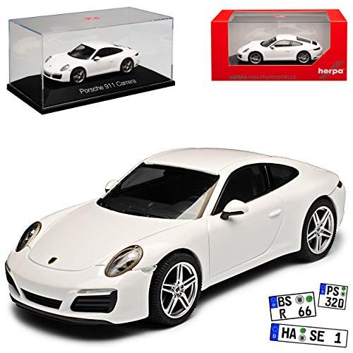 Porsche 911 991 Carrera Coupe Weiss Modell 2012-2019 Version ab Facelift 2015 1/43 Herpa Modell Auto mit individiuellem Wunschkennzeichen