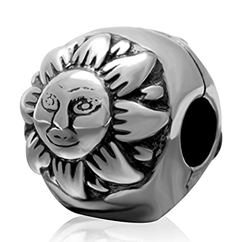 Sun & Mond 925Sterling Silber Clip Lock Stopper Bead Passt Pandora Charms