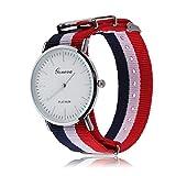 Geneva - Reloj correa de nylon rayas azul rojo