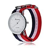 Uhr mit Nylonarmband, rot-blau gestreift