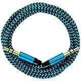 [i!®] 0,2m/20cm Premium Nylon AUX Audiokabel Klinke 3,5 auf Klinke 3,5 @ blau