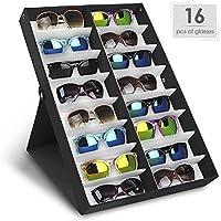 Amzdeal Caja para gafas de sol, Organizador para gafas de sol, Caja de exposición para 16 sunglass, Almacenamiento de gafas, joyas y relojes