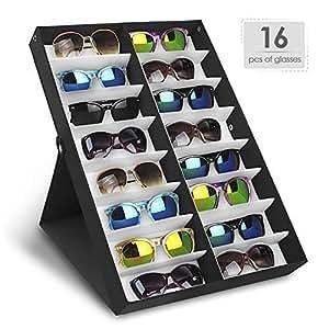 Amzdeal Présentoir de lunettes 16 paires Boîte de Rangement avec le couvercle pliable pour lunettes de soleil Coffret/boîte à Lunette(Noir)