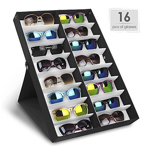 Foto de Amzdeal Caja para gafas de sol, Organizador para gafas de sol, Caja de exposición para 16 sunglass, Almacenamiento de gafas, joyas y relojes