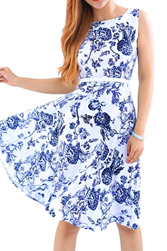 YMING Damen Partykleid KnielangPin up Vintage Kleid Blumenkleid Ballkleider Sommerkleid,Blau,Blumen,L/DE 40-42