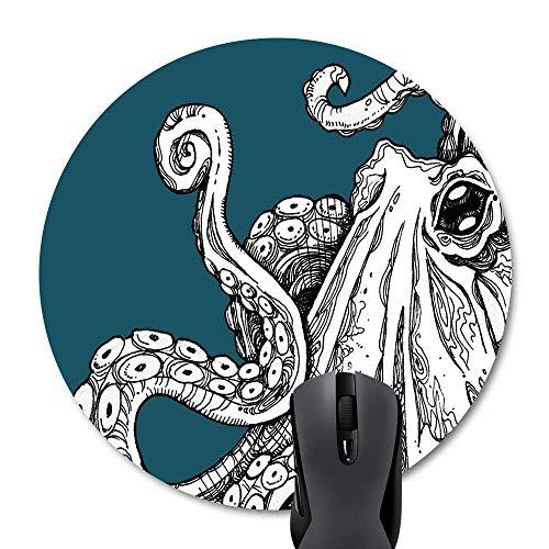 Muccum Round Mauspad Customized Design Abstraktes Sea Monster Octopus Kraken mit Tentakeln Design Kunst (Kunst Sea Monster)