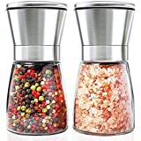 Salt and Pepper Grinder Set, HENSHOW Pack of 2 Premium Brush Stainless Steel Salt Pepper Mill Set and Glass Body Salt and Pepper Shakers with Adjustable Ceramic Coarseness for Cooking BBQ