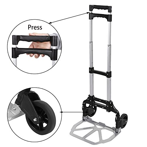 Preisvergleich Produktbild cooshional Alu Sackkarre klappbar Tragkraft 150 kg Handkarre leicht Rollwagen Transportkarre