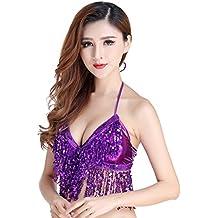 e2d626979dbe Qlan Belly Dance Bra Top Perline Colorate con Paillettes per Danza del  Ventre