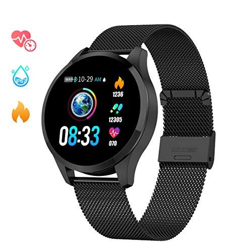 Smartwatch Mujer Hombre, Impermeable Reloj Inteligente Elegante Monitores de Actividad Impermeable IP67 con Monitor de Sueño Pulsómetros Podómetro Contador de Caloría Compatible con iOS Android