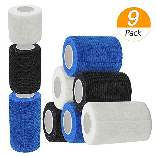 Erste Hilfe Bandage, Homgaty Elastische Binde Haftbandage Selbstklebende Bandagen Sportverletzung Erste Hilfe Verband, 9 Stück