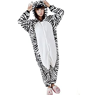 ANDAY Unisex Onesie Animal Pajama Flannel Jumpsuit Cosplay Costume Pyjamas Zebra