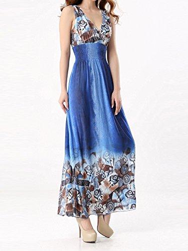 Femmes Robe De Soirée,Boho Florale V Neck Robe Longue Grande Taille Bleu