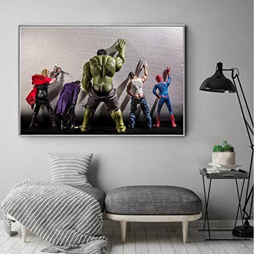 51GPjwX40TL - Película Superhéroes en Aseo Cartel Nord Heros Niños Habitación Decoración Arte de la Pared Pintura de la Lona Cuadro 60x80cm Sin Marco