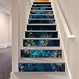 LLL LT005 Navy Blau Gold Rosa Blumen Muster DIY Treppenhaus Aufkleber Wasserdicht Selbstklebend Dekoration