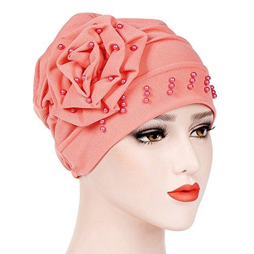 Damen Muslim Stretch Turban Hut mit Blumen Islamischen Mütze Frauen Elastisches Long Slouch Beanie Verlust Haar Geschenk Chinio Krebs Muster (Wassermelone Rot)
