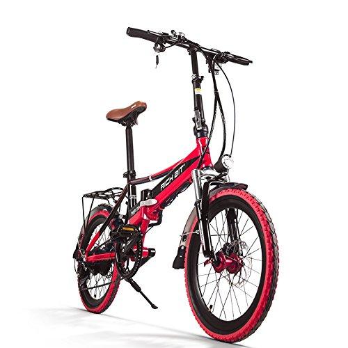 Rich Bit Electric City Bike rt700 eBike Klapprad 250 W * 48 V 8 Ah LG Akku 7Speed 7 Gänge ausgestattet Handy Ladegerät & Halterung doppelt Mechanische Bremse, 20 in Schleiftopf mit Rückseite Schläger City Pendeln Bike Shimano Umwerfer Lange dauert, New Fashion Malerei rot