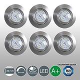 LED Einbaustrahler Dimmbar Schwenkbar Ultra Flach 6er Set Inkl. 6 x 5,5W LED Modul 230V IP23 LED...