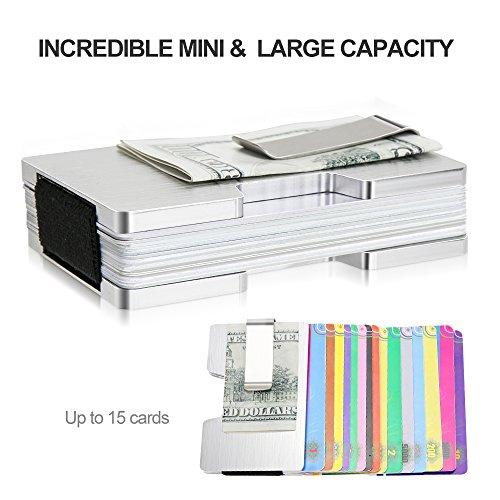 1e7901a100 Fermasoldi Uomo Metallo,Porta Carte di Credito Anti RFID con Capacità di 15  Carte,Materiale in Alluminio Super Leggero,Resistente all'usura ...