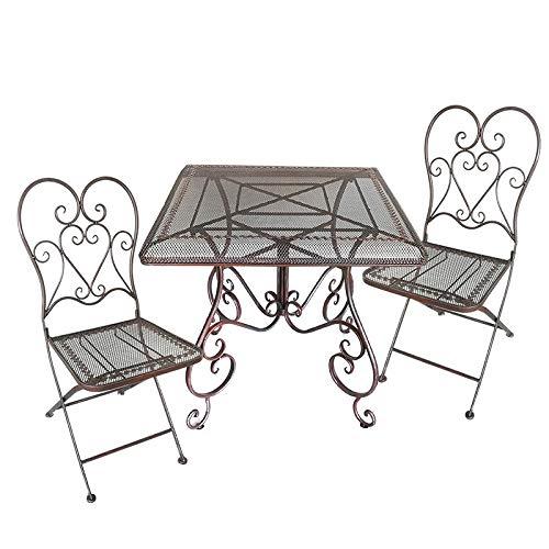 La Grande Prairie Ensemble 2 chaises et Table de Jardin en métal