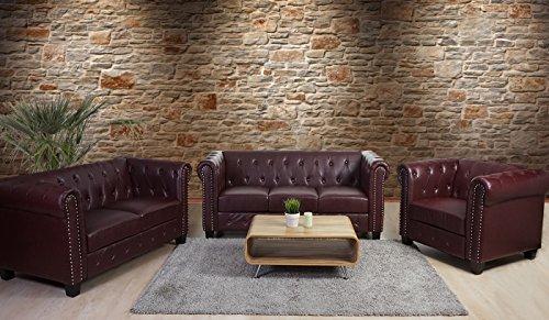 Luxus 3-2-1 Sofagarnitur Couchgarnitur Loungesofa Chesterfield Kunstleder ~ eckige Füße, rot-braun - 2