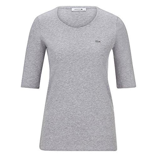 Lacoste TF5621 Klassisches Damen Basic T-Shirt, Rundhals, 3/4 Arm, Kurzarm, Regular Fit, für Freizeit und Sport, 100% Baumwolle Grau (Silver Chine CCA), EU 38