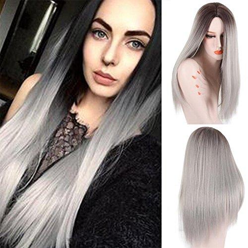 Perücken Mode Frauen Natürliche Hitzebeständige Welle Glattes Haar Silbergrau Flauschige Tägliche Party Show