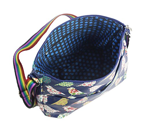 Oilcloth piccioni da donna a tracolla Messenger Bag-Borsa a spalla, a tracolla e a mano (Azzurro)