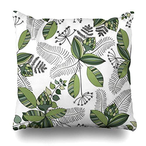 Klotr Kissenbezugs Flower Scandinavian Floral Simple in Nordic Line Endless Scandinavia Pattern Abstract Nature Cute Pillowcase Square Size 18 X 18 Inches Home Decor Cushion Cases