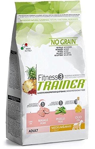 Trainer Fitness 3 No Grain Medium&Maxi Maiale Piselli e Olio 12,5kg