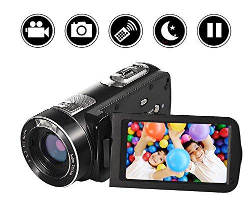 Camescope Camera Video Full HD 1080p Caméra Vidéo 24.0MP 18x Zoom Numérique 3.0 'LCD 270 ° Rotation écran avec télécommand