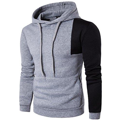 VENMO Herren Jungen Slim Fit Hoodie Lässige Jacke Modische Oberkleidung Outerwear Baumwoll Langarm Kapuzen Casual Shirt T-Shirts Hoodie Tops (L, Grey) (Patchwork-jungen Shorts)