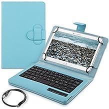"""kwmobile Funda con teclado QWERTZ para 7-8"""" Tablet con soporte - Funda protectora de piel sintética en azul claro - compatible por ej. con Apple, Samsung"""