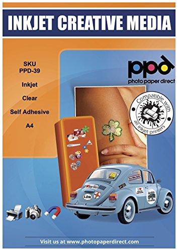 PPD DIN A4 Inkjet Bedruckbare Klebefolie - Selbstklebend Transparent für Tintenstrahldrucker - Ideal für Folien-Etiketten , DIN A4 x 10 Blatt PPD-39-10