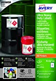 Avery B 7169-50 formato A4, Ultra resistenti impermeabili GHS BS5609 etichette, certificati, per tutti i tipi di stampanti, 99 x 139 mm, colore: bianco