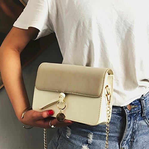 Longra Sacchetto del messaggero del sacchetto di spalla di modo delle donne Beige