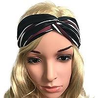 Demarkt 1 Pcs Femme Bande de Cheveux Belles Rayures Headband Rayure Elastique Extensible Hairband Twisted Pour fille Sport Jogging Yoga Maquillage Accessoire Rayures Noir