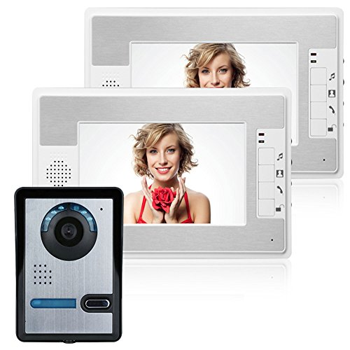 MOUNTAINONE 7 Inch Video Door Phone Doorbell Intercom Kit 1-camera 2-monitor Night Vision